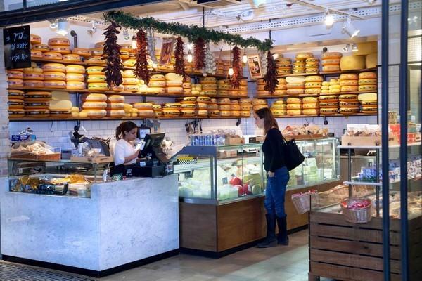 Fresh cheeses at the Sarona Market